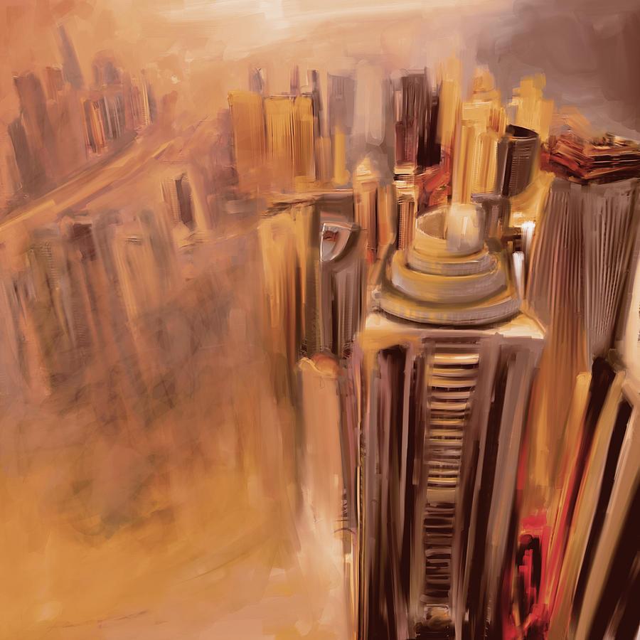 Dubai Painting - Painting 778 3 Dubai Skyline by Mawra Tahreem