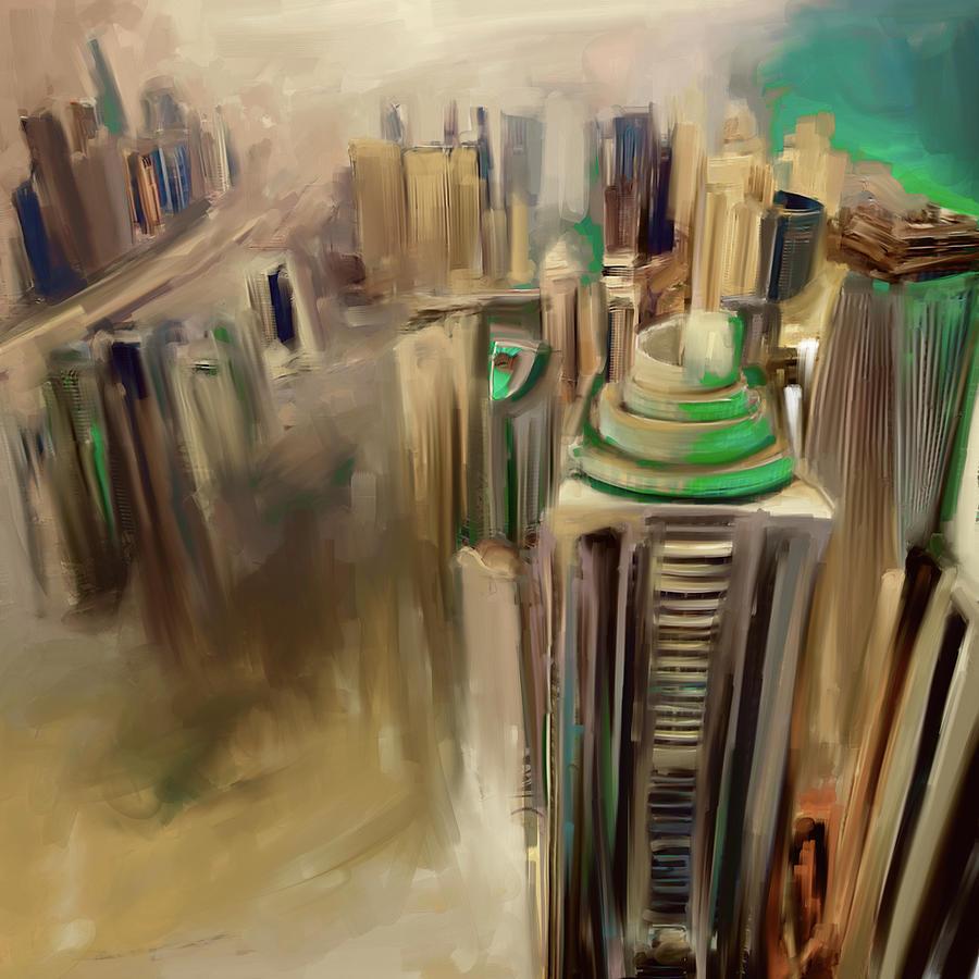 Dubai Painting - Painting 778 4 Dubai Skyline by Mawra Tahreem