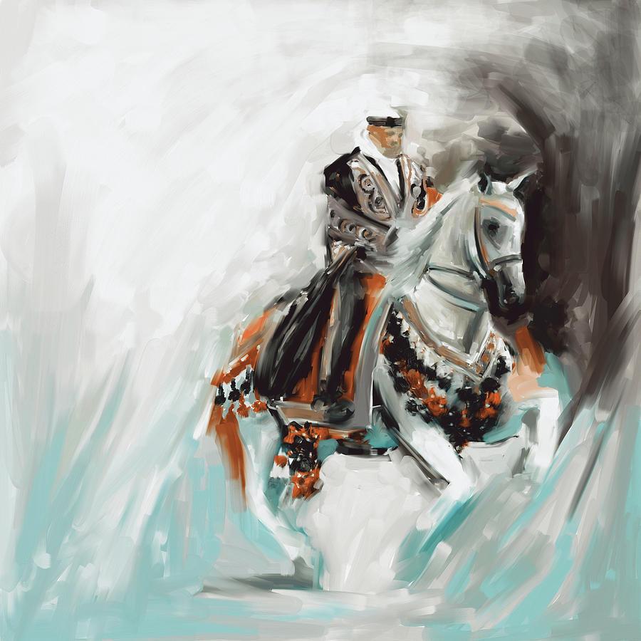 Horse Painting - Painting 780 4 Arabian Horse Rider by Mawra Tahreem