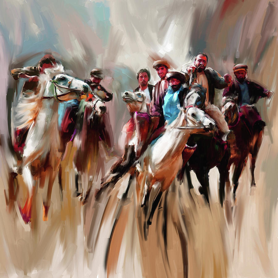 Buzkashi Painting - Painting 787 1 Buzkashi by Mawra Tahreem