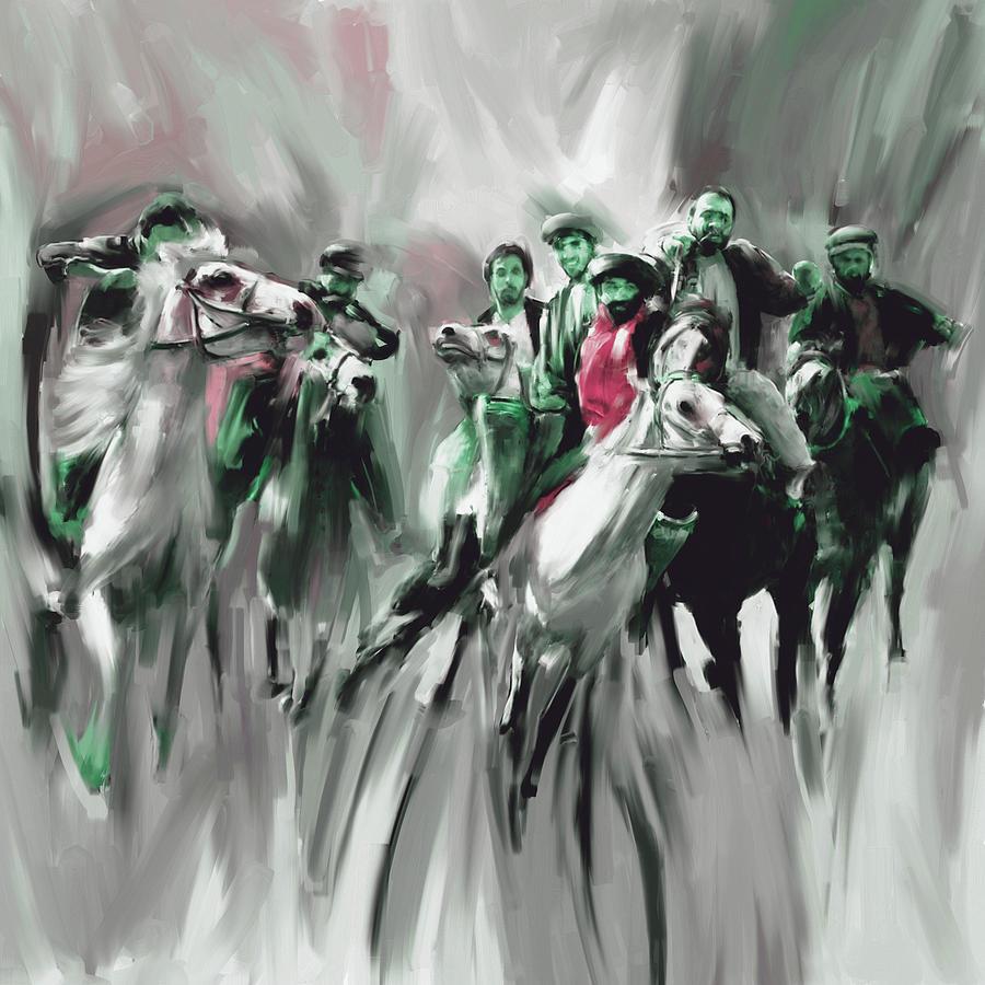 Buzkashi Painting - Painting 787 4 Buzkashi by Mawra Tahreem