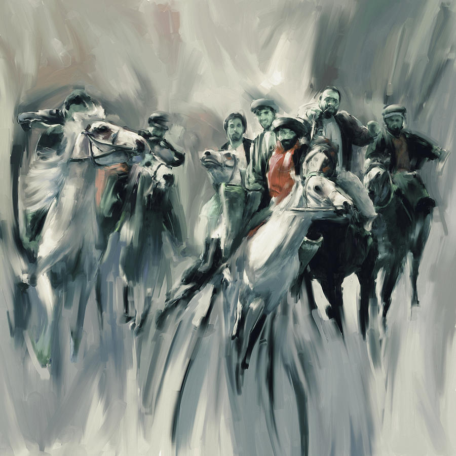 Buzkashi Painting - Painting 787 5 Buzkashi by Mawra Tahreem