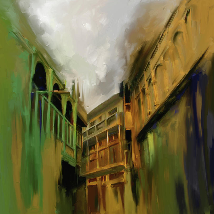 Peshawar Painting - Painting 791 1 Wooden Architecture by Mawra Tahreem