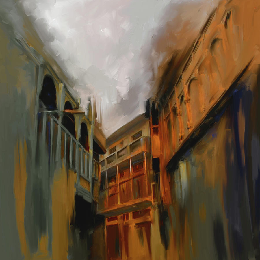 Wooden Painting - Painting 791 4 Wooden Architecture by Mawra Tahreem
