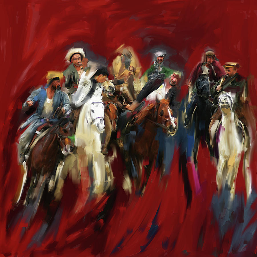 Painting 799 1 Buzkashi by Mawra Tahreem