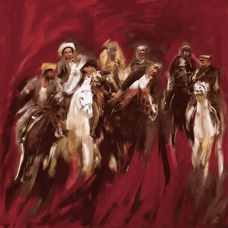 Painting 799 2 Buzkashi by Mawra Tahreem