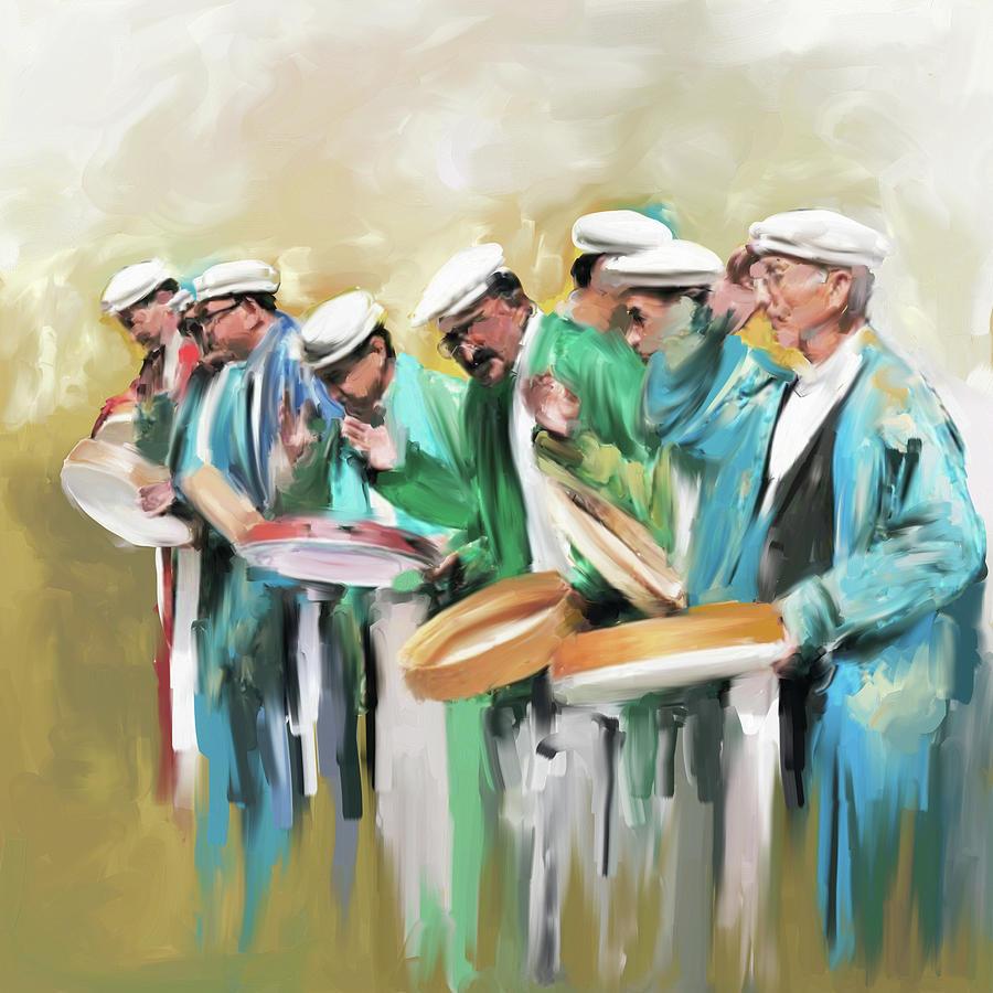 Hunza Painting - Painting 800 1 Hunzai Musicians by Mawra Tahreem