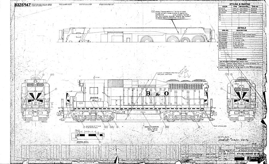 Baltimore Drawing - Painting And Lettering Diagramgp30 by Baltimore and Ohio Railroad