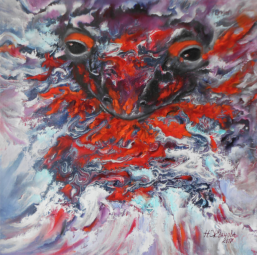 Salamander Painting - Painting Breathing Salamander In Abstract Style by Natalya Zhdanova