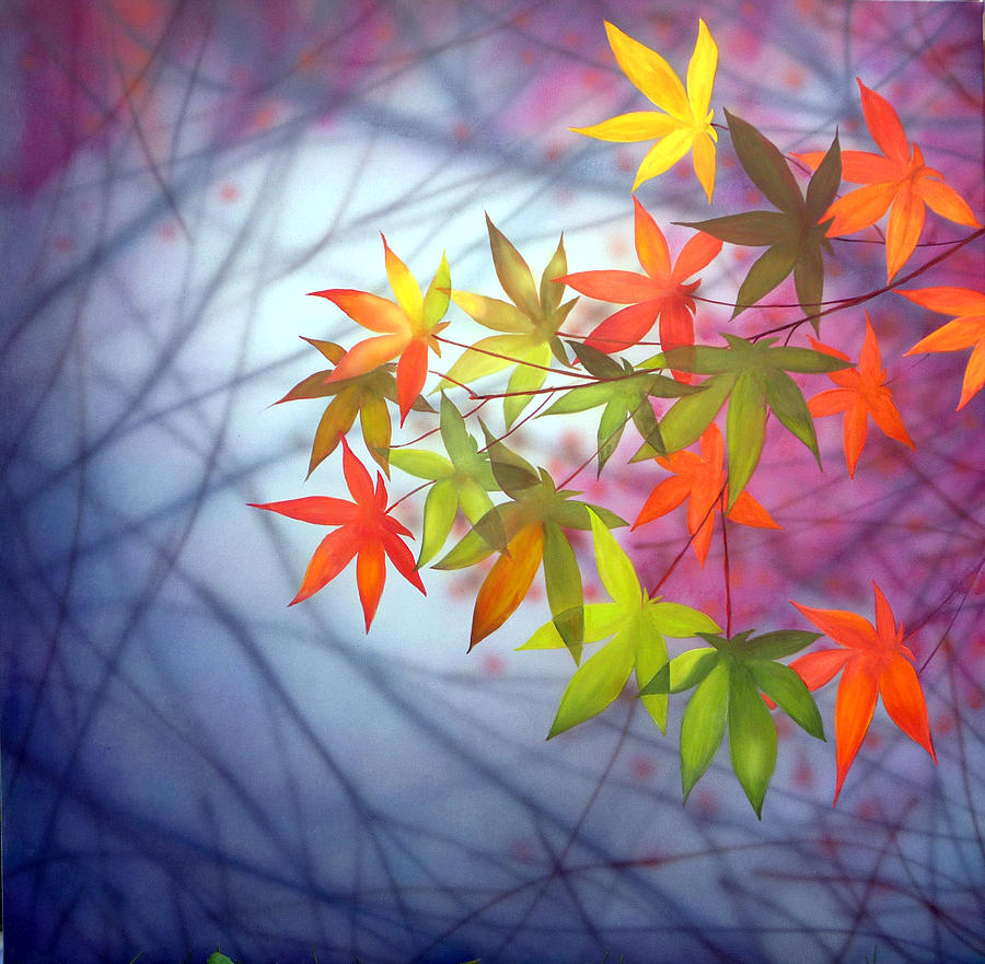 Original Painting   Painting Canvas Modern Office Wall Art Autumn Leaves  Sun By George Bazhanoff