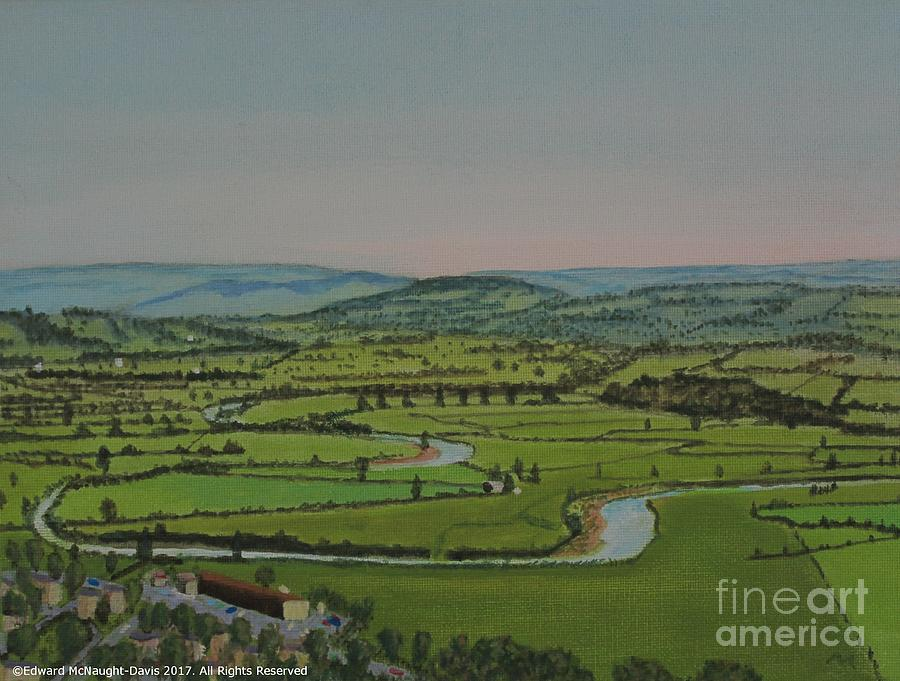 Painting Merlins Hill Abergwili over River Towy Carmarthen by Edward McNaught-Davis