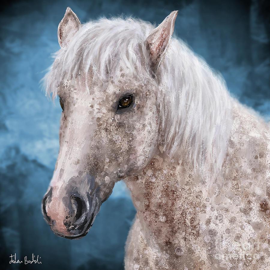 Horse Digital Art - Painting Of A Brindle Horse With White Coat by Idan Badishi