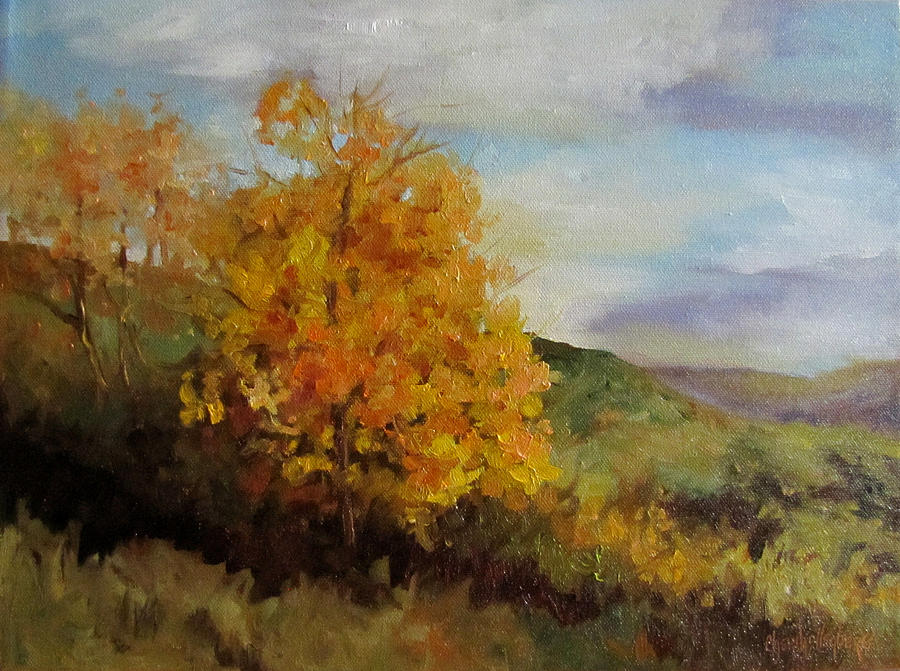 Landscape Painting - Painting Of A Golden Tree by Cheri Wollenberg