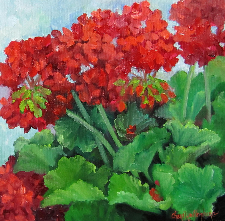 Geraniums Painting - Painting Of Red Geraniums by Cheri Wollenberg