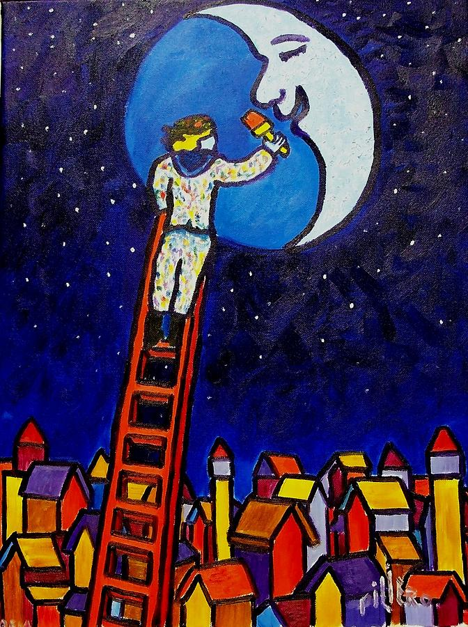 Painting The Moon Red Painting by Nick Piliero