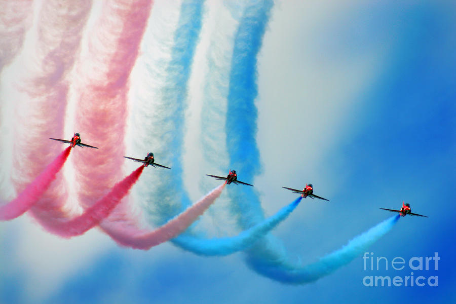Red Arrows Photograph - painting the Rainbow by Angel  Tarantella