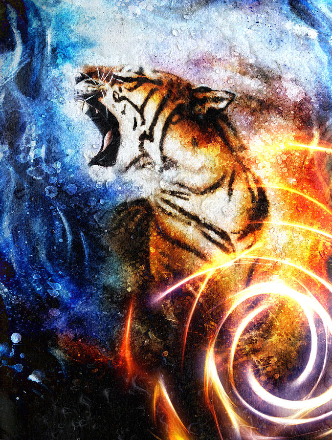 Painting Tiger Collage On Drop And Spot Background Wildlife