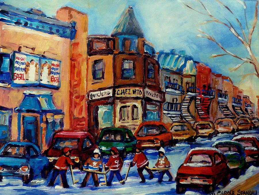 Montreal Painting - Paintings Of Montreal Hockey On Fairmount Street by Carole Spandau