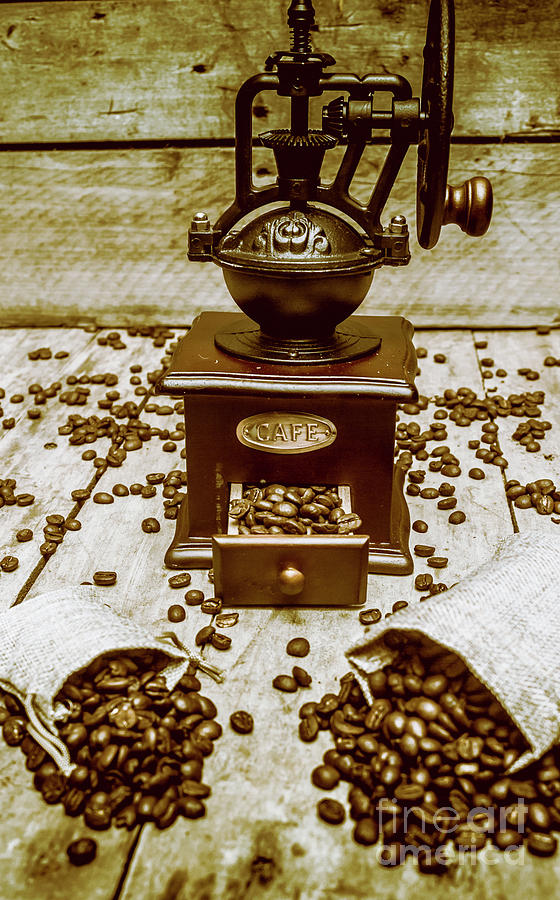 Aromatic Photograph - Pair Coffee Bean Bags Spilled In Front Of Grinder by Jorgo Photography - Wall Art Gallery