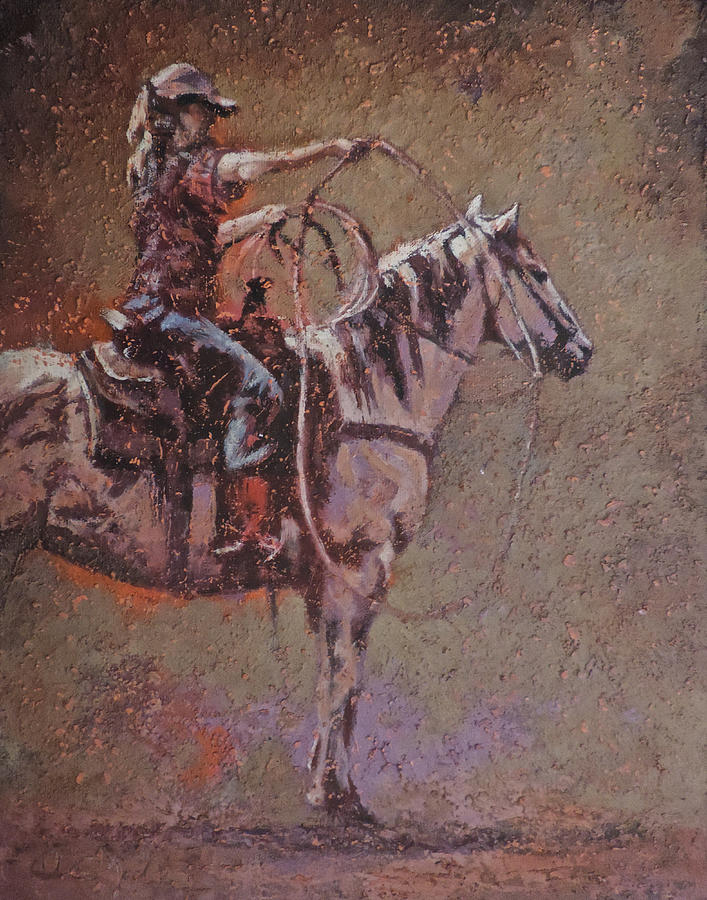 Cowgirl Painting - Pair of Aces by Mia DeLode