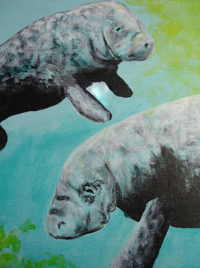 Florida Painting - Pair Of Florida Manatees by Susan Kubes