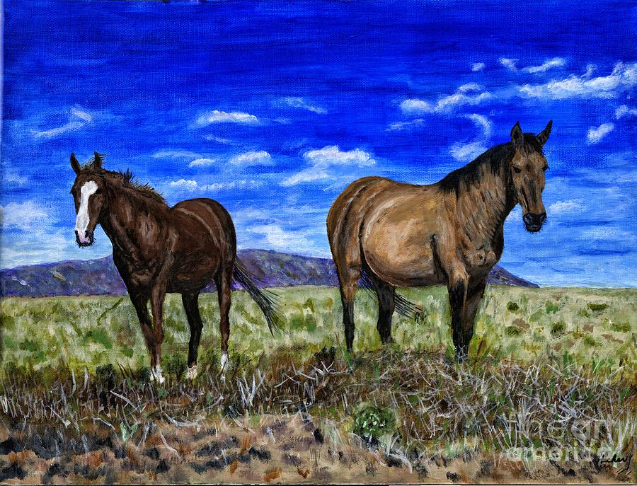 Horse Painting - Pair Of Horses Painting by Timothy Hacker