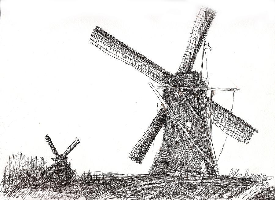 Pair Of Windmills 2016 Drawing