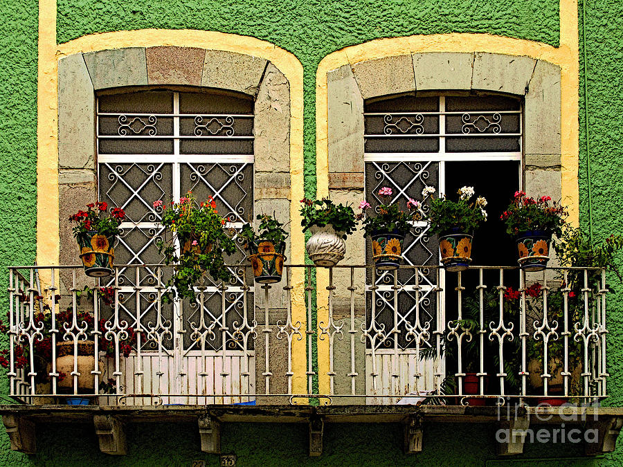Darian Day Photograph - Pair Of Windows In Green by Mexicolors Art Photography