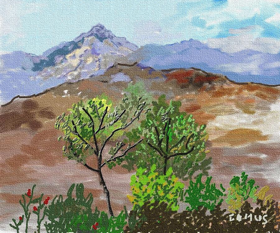 Paint Painting - Paisaje- Chile-cerro Campana by Carlos Camus