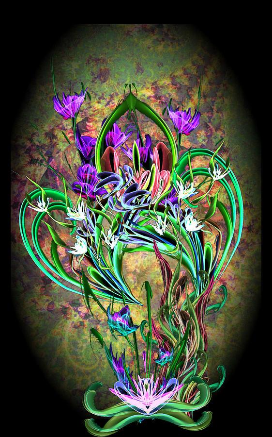 Fractal Digital Art - Paisley Floral by ReeNee Cummins
