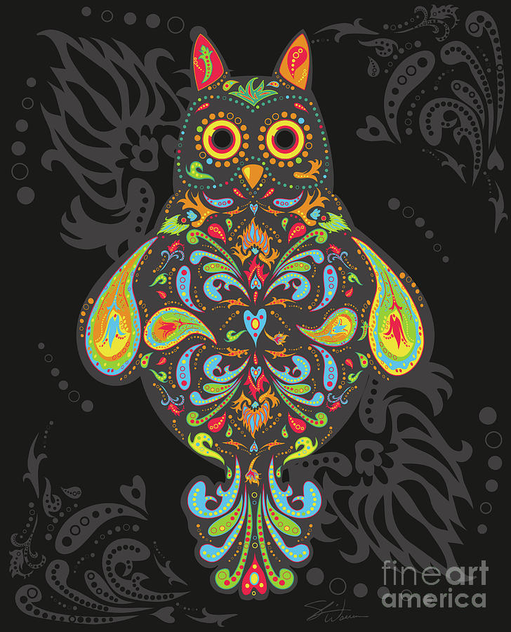 Owl Digital Art - Paisley Owl by Shari Warren