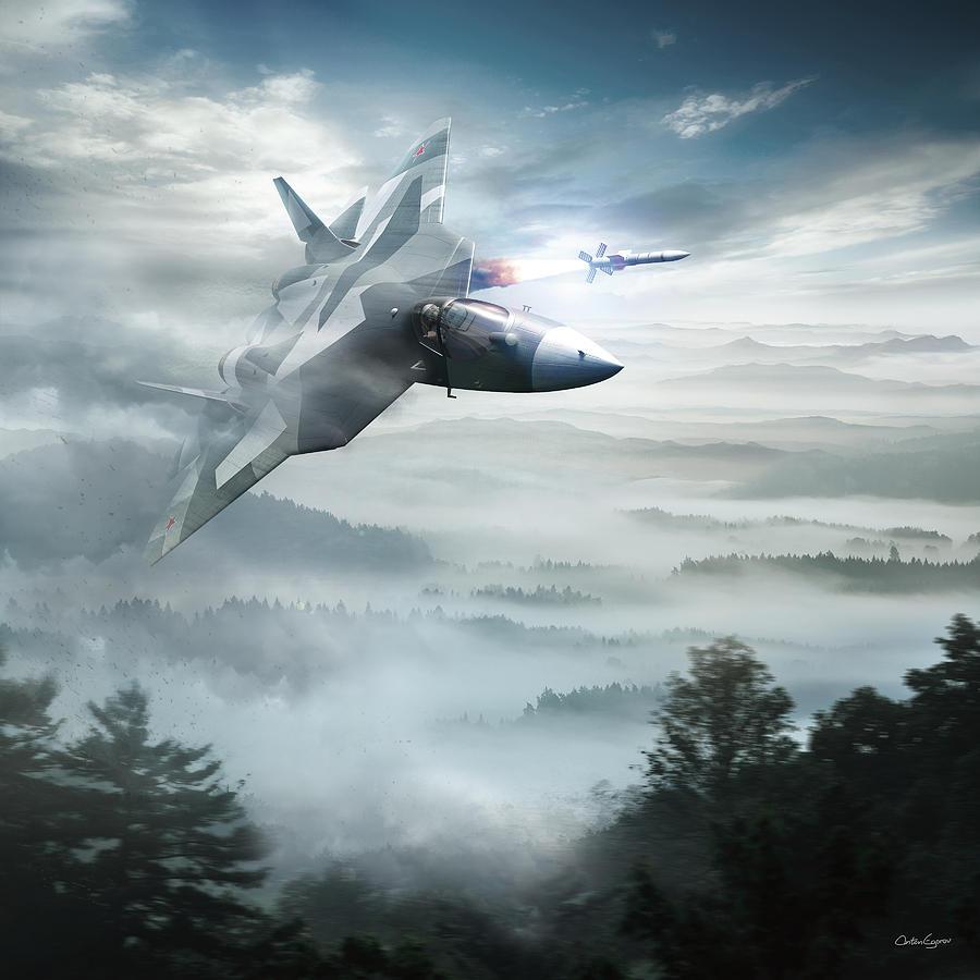 Military Digital Art - Pak Fa Aka T-50 - Russian Fifth-generation Fighter Jet by Anton Egorov