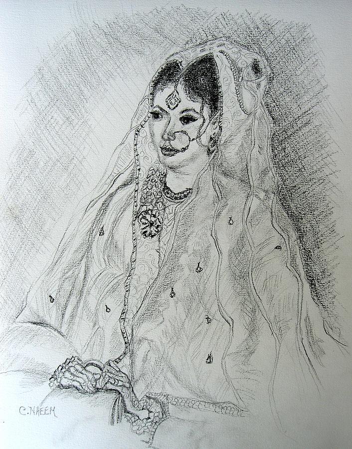 Pakistani Drawing - Pakistani Bride by Caroline Eve Urbania