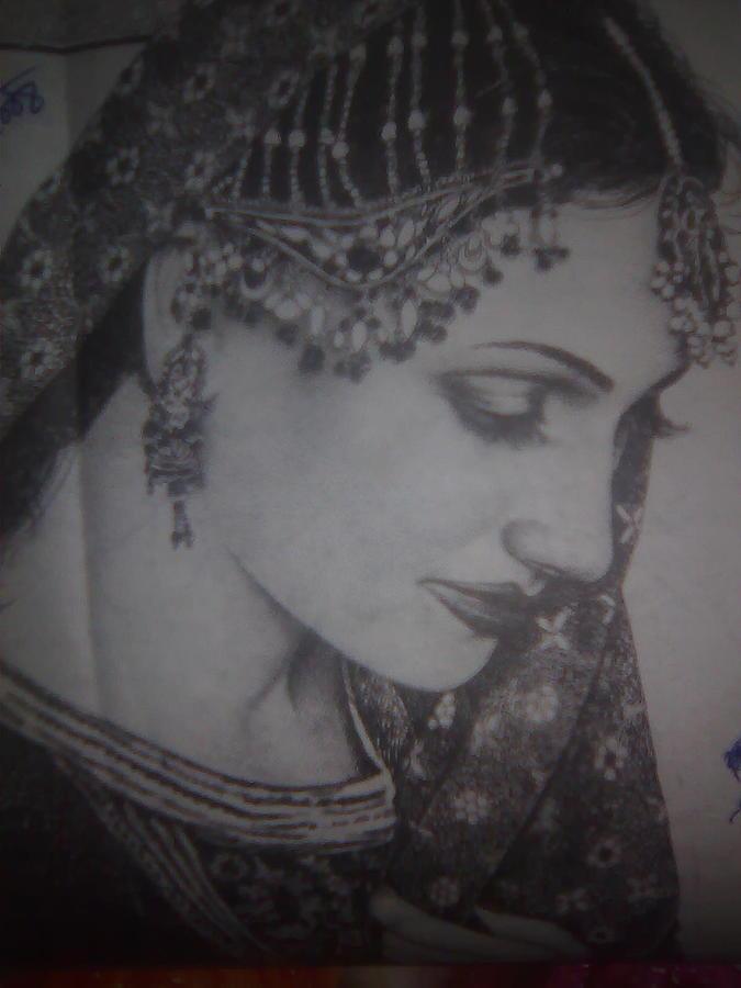 Pakistani Bride Drawing - Pakistani Bride by S Eajaz Eajaz Ali