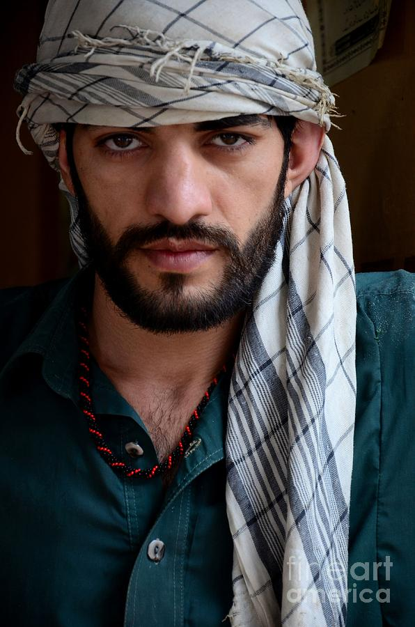 Pakistani Pashtun Man Models With Headscarf And Necklace