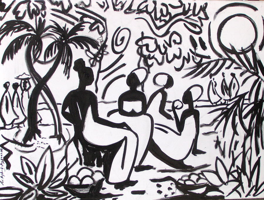 African Scene Painting - Palabres by Celine Raphael-Leygues