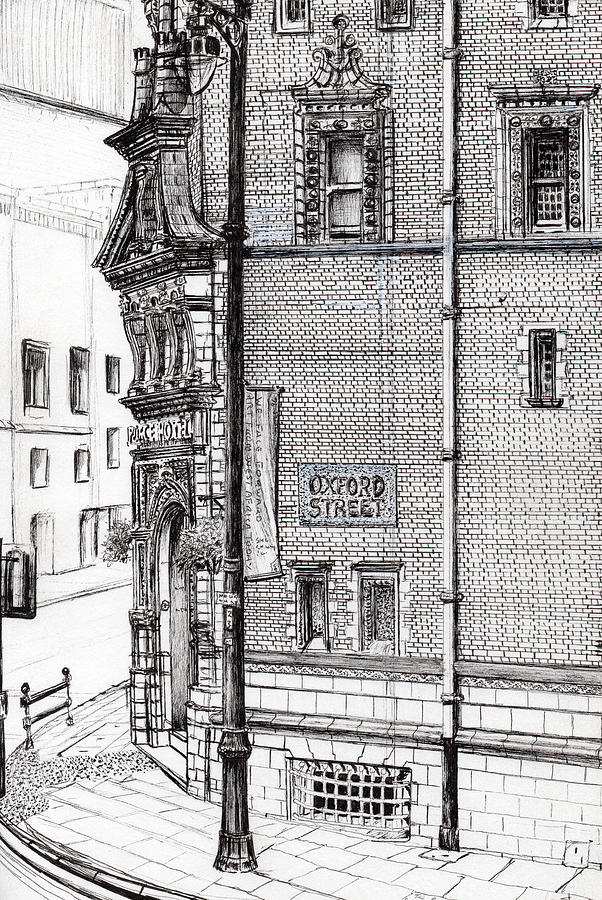 Black And White Drawing - Palace Hotel Oxford Street Manchester by Vincent Alexander Booth