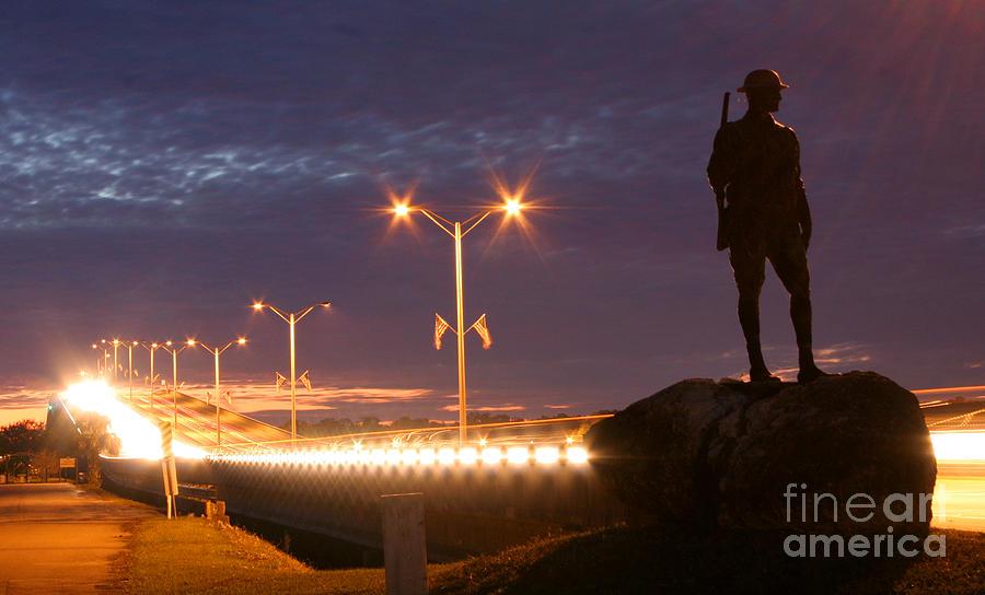 Palatka Photograph - Palatka Memorial Bridge Doughboy by Angie Bechanan