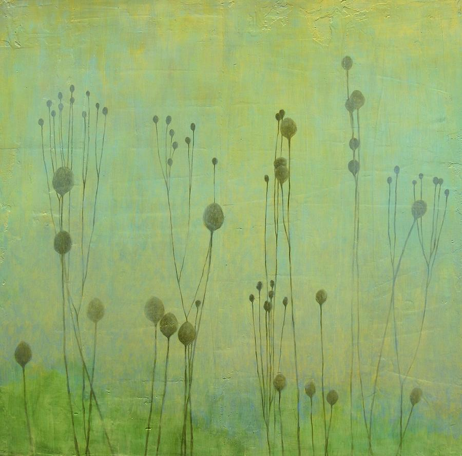 Landscape Painting - Pale Green Pods by MaryAnn Crago