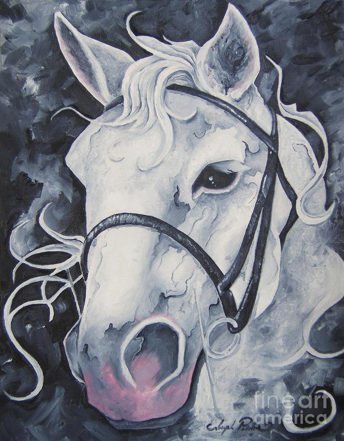 Horse Painting - Pale White Horse by Joseph Palotas