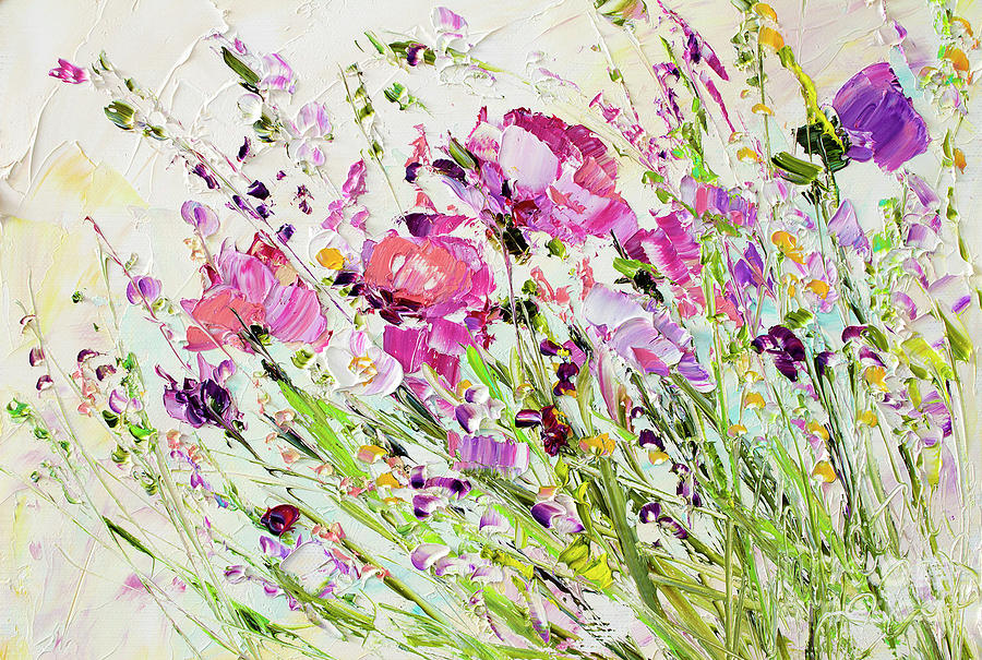 Image result for flowers painted with palette knife