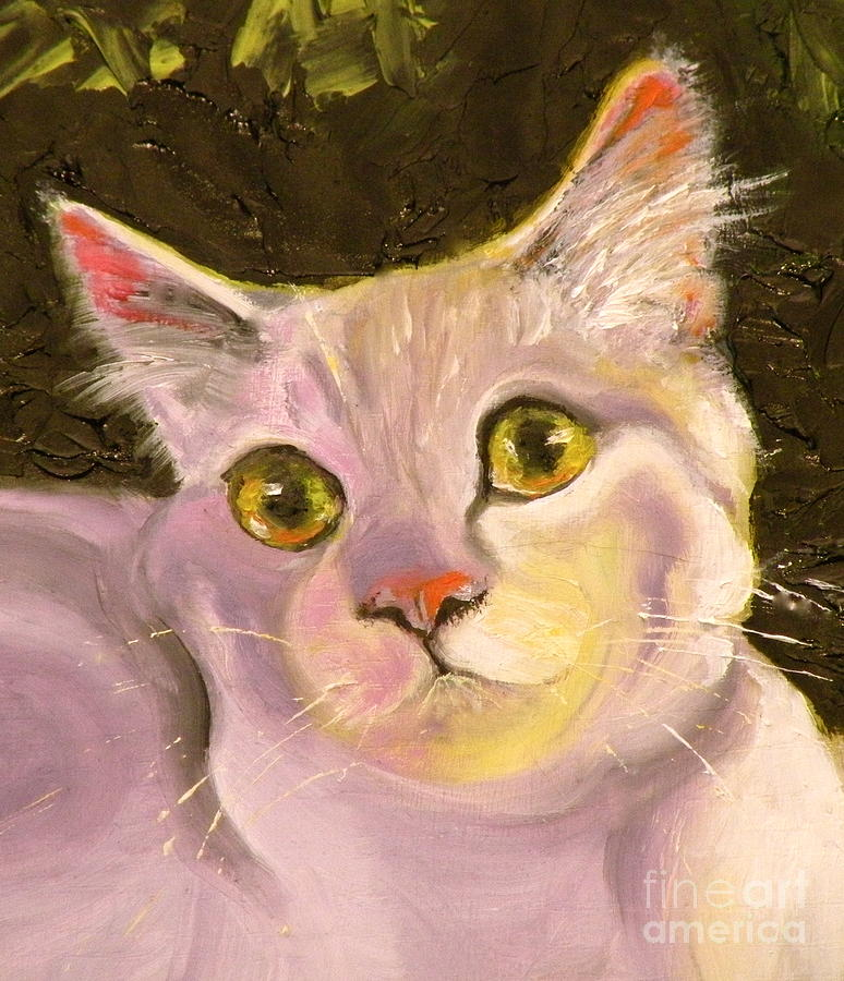 Cat Painting - Palette Pal Close Up by Susan A Becker