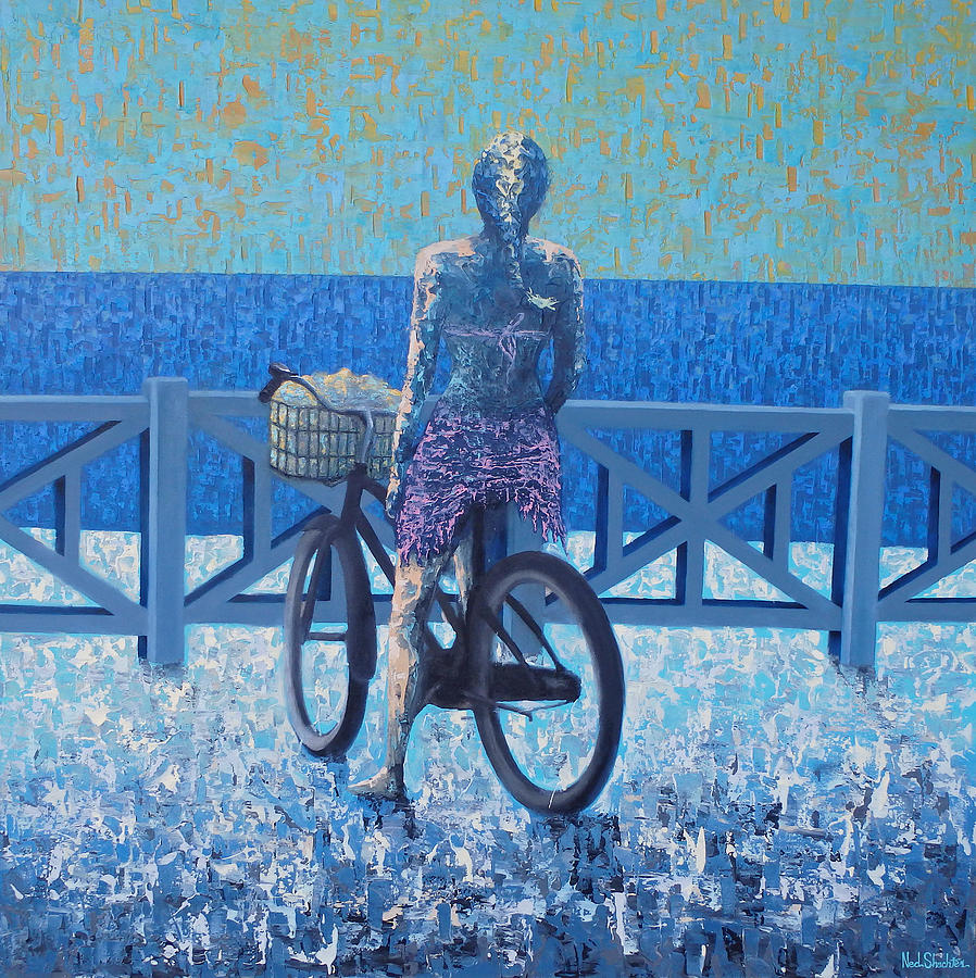 Bike Painting - Palisade Park by Ned Shuchter