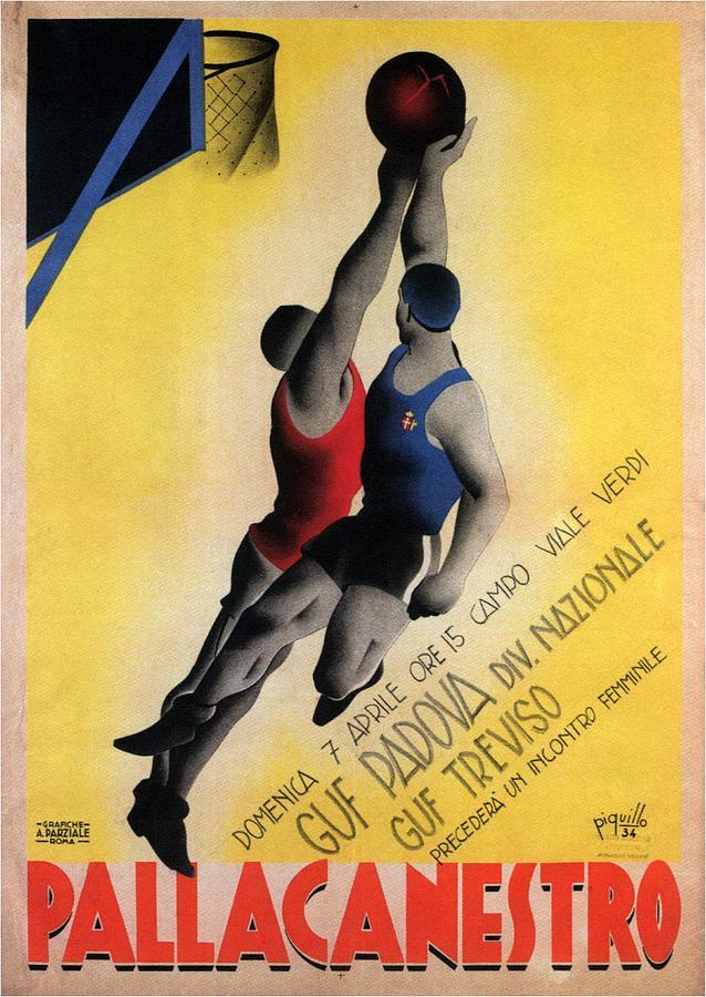 Pallacanestro - Basketball Tournament - Padova, Italy - Retro Travel Poster - Vintage Poster Mixed Media