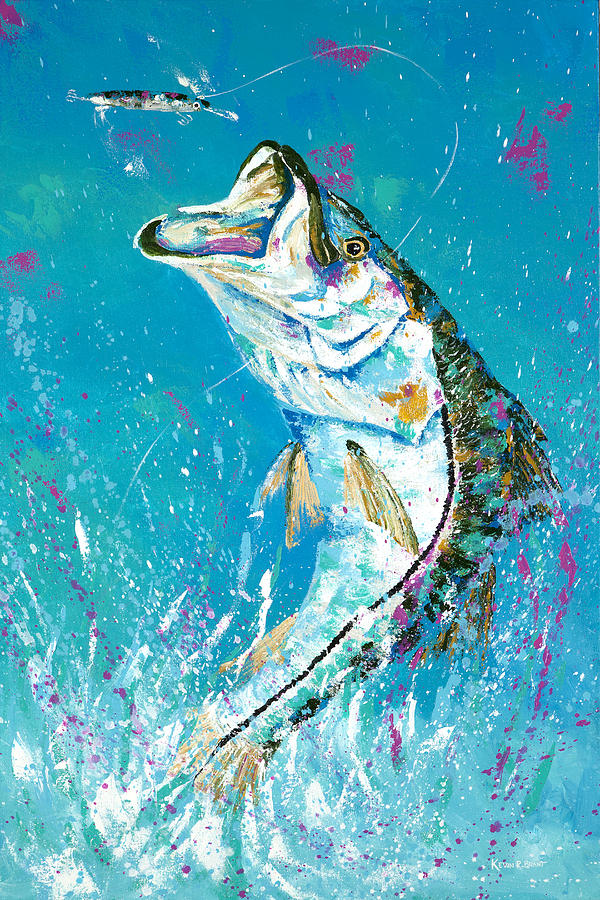 Snook Painting - Pallet Knife Jumping Snook by Kevin Brant