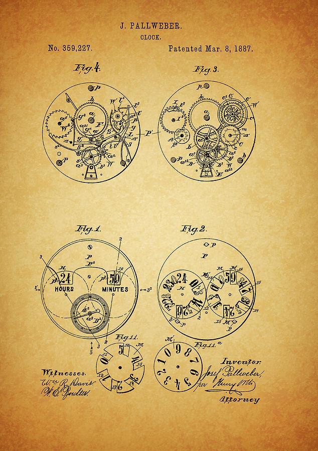 Watch Patent Mixed Media - Pallweber Pocket Watch Patent by Dan Sproul
