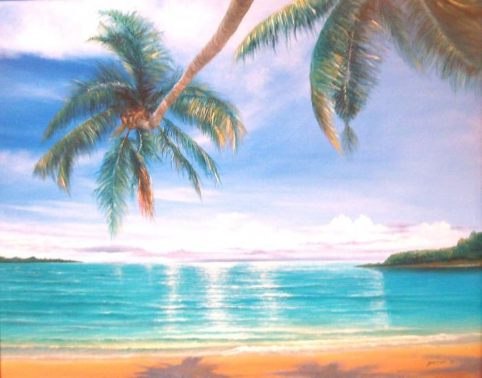 Beach Painting - Palm Beach by Peter  Jang