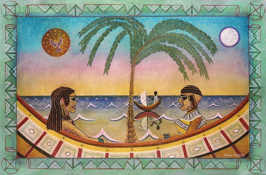 Fantasy Mixed Media - Palm Boats by Sally Appleby