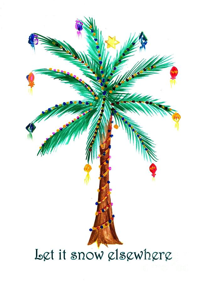Palm Christmas Tree Painting By Sweeping Girl