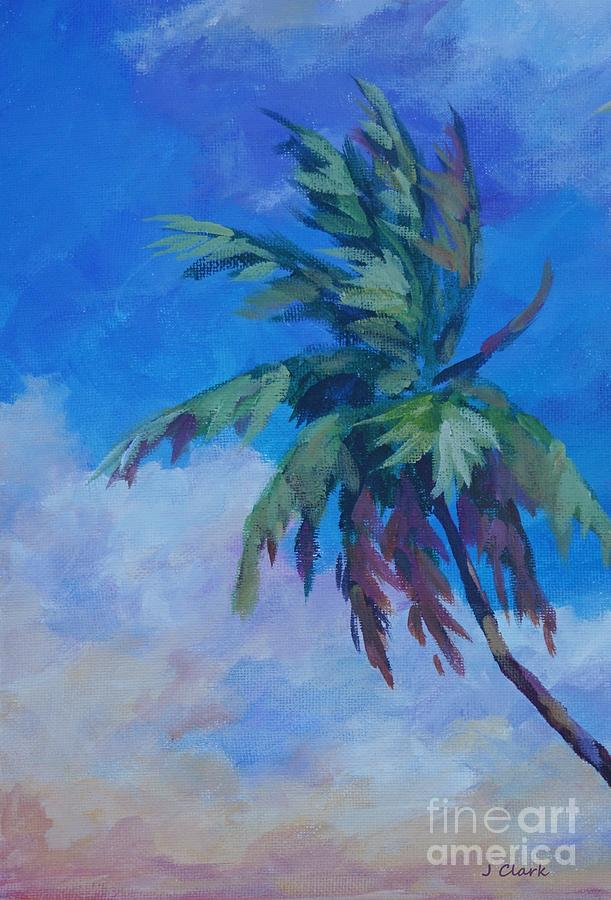 Cayman Painting - Palm In Evening Light by John Clark